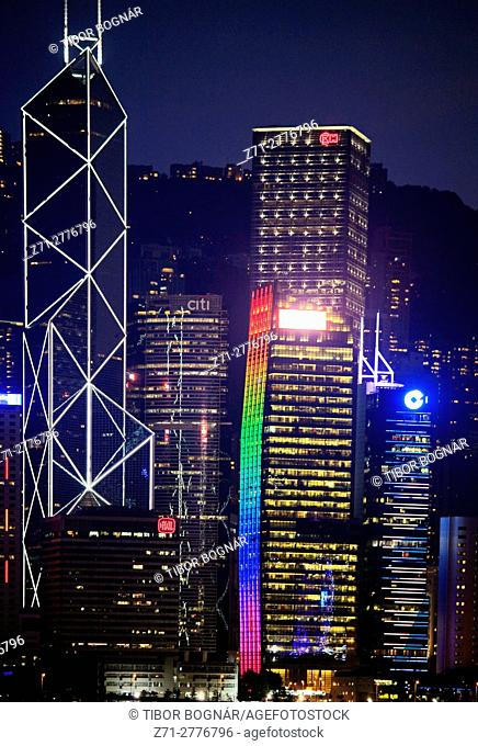 China, Hong Kong, Central district, skyline, night,