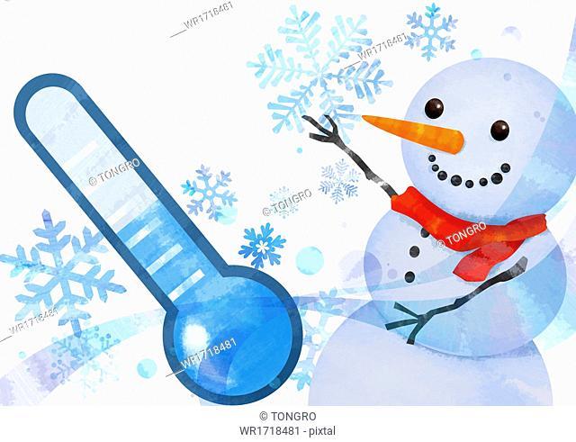 A snowman in the cold temperature