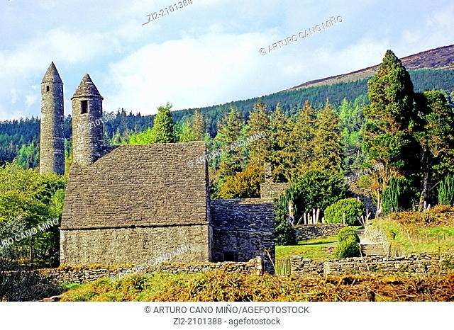 The Round Tower and St. Kevin's Kitchen, XII-XIII centuries, Glendalough, Republic of Ireland