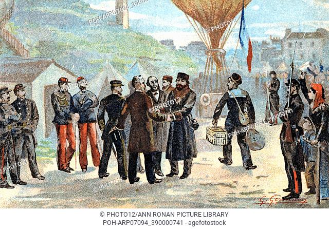 Franco-Prussian War 1870-1871: Leon Gambetta (1838-1882), French Republican politician (in hat, centre) about to escape besieged Paris for Tours by balloon