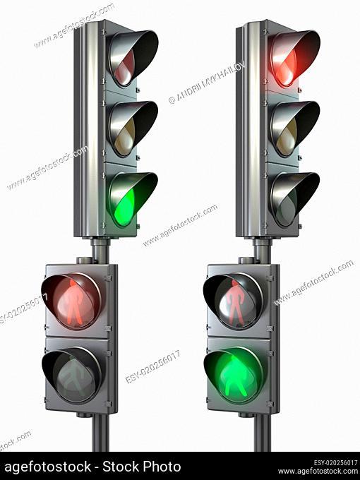 Set of pedestrian light lights with walk and go lights