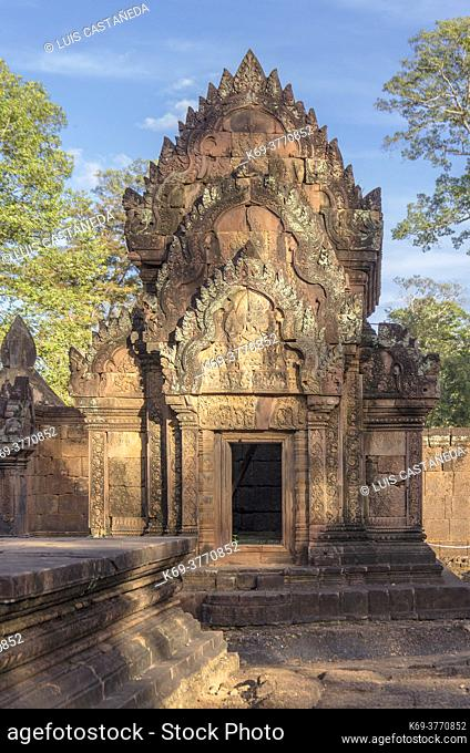 Banteay Srei is a 10th century Cambodian temple dedicated to the Hindu god Shiva. Located in the area of Angkor in Cambodia