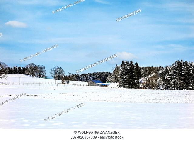Image of winter landscape in Bavaria, Germany on a sunny day