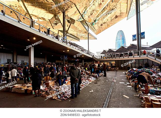 Barcelona, Spain - April 4, 2016: Inside of Mercat dels Encants. It is a Barcelona's largest and best known flea market. One of the oldest flea markets in...