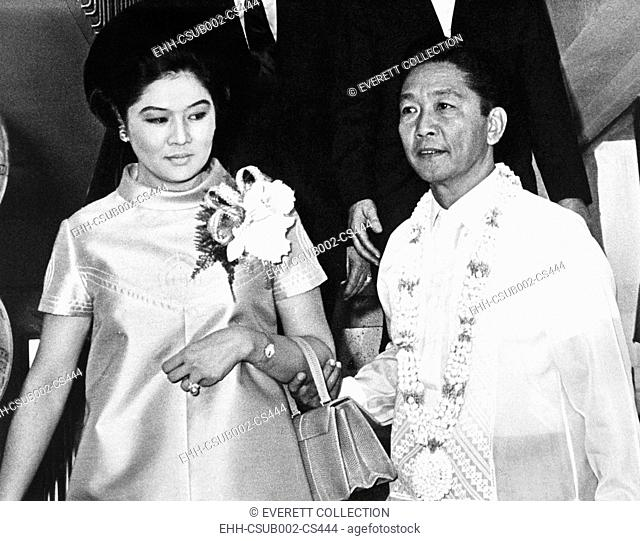 President Ferdinand Marcos of the Philippines and his wife in Imelda Romualcez Marcos. April 15, 1969. He ruled as a dictator after imposing martial law from...