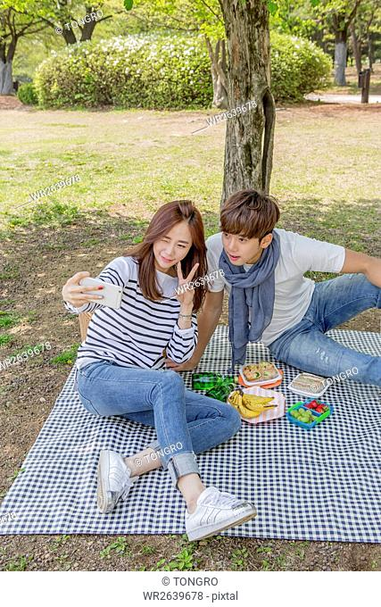 Smiling couple having a picnic at park in spring