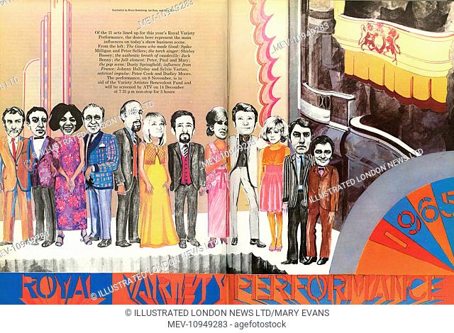 A dozen of the 21 acts lined up for the Royal Variety Performance 1965. From left, Spike Milligan and Peter Sellers, Shirley Bassey, Jack Benny, Peter