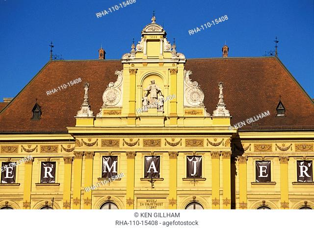 Close-up of facade and roof of the building housing Arts and Crafts Museum, in Zagreb, Croatia, Europe