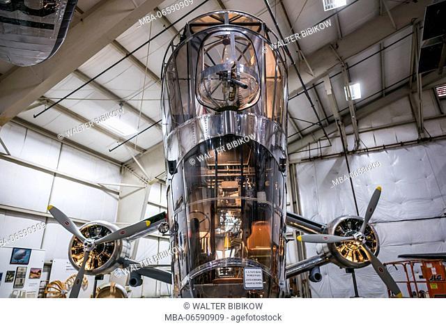 USA, Connecticut, Windsor Locks, New England Air Museum, WW-2-era US Navy Goodyear ZNP-V dirigible control cabin