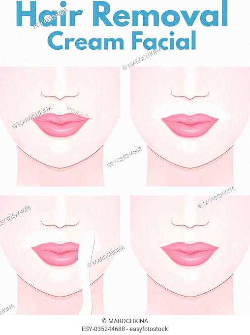 mustache on the upper lip of a woman, the step of removing the cream for depilation of hair