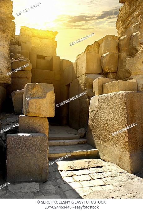 Ruined stone walls of the pharaoh tomb