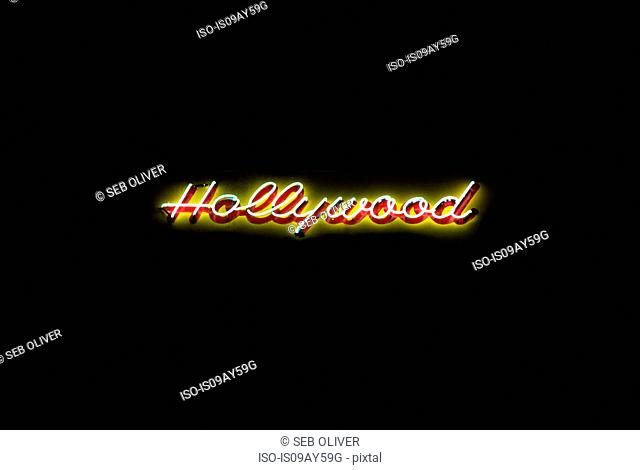 Illuminated 'Hollywood' sign