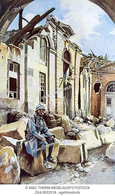 Destroyed courtyard of the bishop palace building, Verdun, 1916, Meuse Department, France
