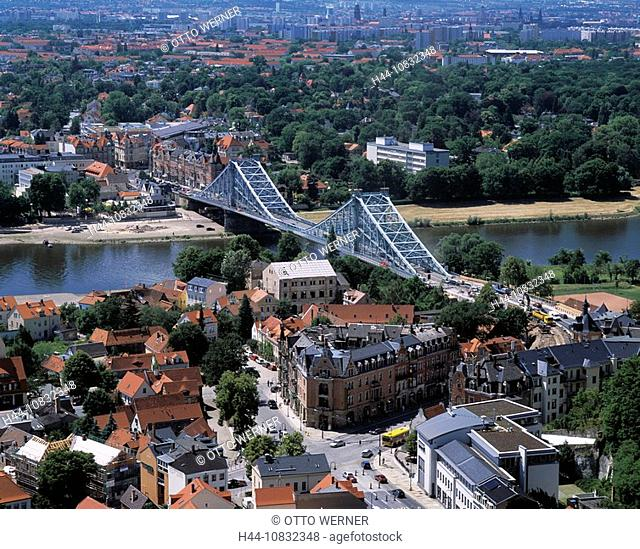 Germany, Europe, Dresden, City, Blue Wonder Bridge, Blaues Wunder, Blasewitz and Loschwitz, River Elbe, Overlook, Over