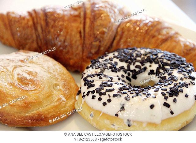Breakfast, doughnuts croissant and round pastry Spain