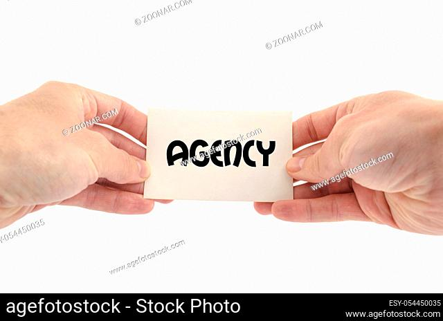 Agency only text concept isolated over white background