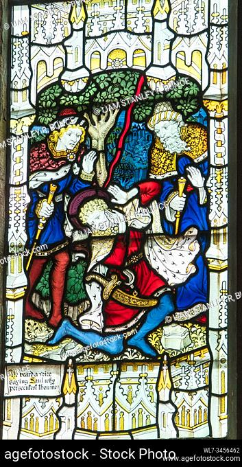 Stained glass depicting Saul falling to the ground as he nears Damascus, St Mary's Priory Church, Abergavenny Wales UK. May 2019
