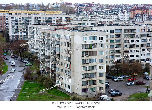 Sofia, Bulgaria. View on the neighborhood 'Slatina' from the twelfth floor of 'Block 33A'. The suburb was build during the era of communism in the sixties and...