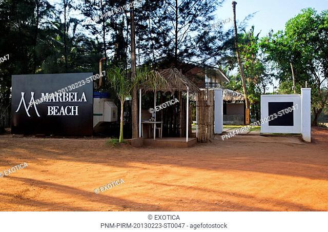 Entrance of a tourist resort, Marbela Beach Resort, Mandrem, North Goa, Goa, India