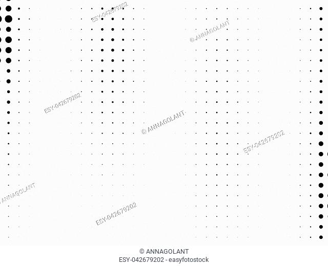 Abstract monochrome halftone pattern. Futuristic panel. Gunge dotted backdrop with circles, dots, point. Design element for web banners, posters, cards