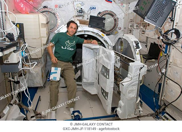 NASA astronaut Joe Acaba, Expedition 32 flight engineer, is pictured near the newly assembled JEM Robotic Maneuvering System Multi-Purpose Experiment Platform...