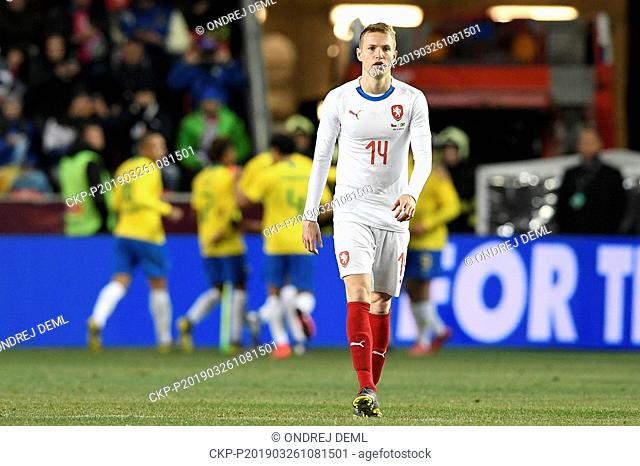 Jakub Jankto (CZE) is seen in the friendly football match Czech Republic vs Brazil at Sinobo Stadium, Prague, Czech Republic, on Tuesday, March 27, 2019
