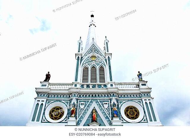 White church in Samut Songkhram, Thailand