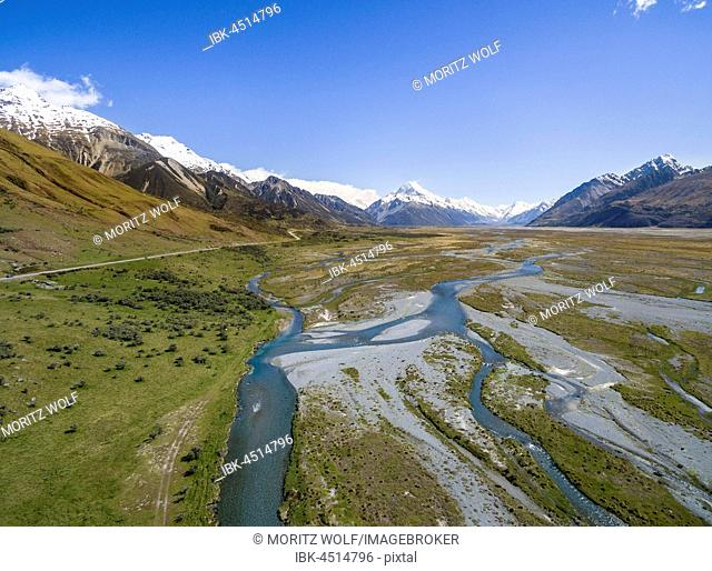 Wide river bed of the Tasman River, at back Mount Cook, Canterbury Region, Southland, New Zealand