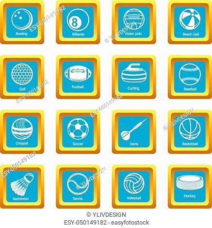 Sport balls equipment icons set vector sapphirine square isolated on white background
