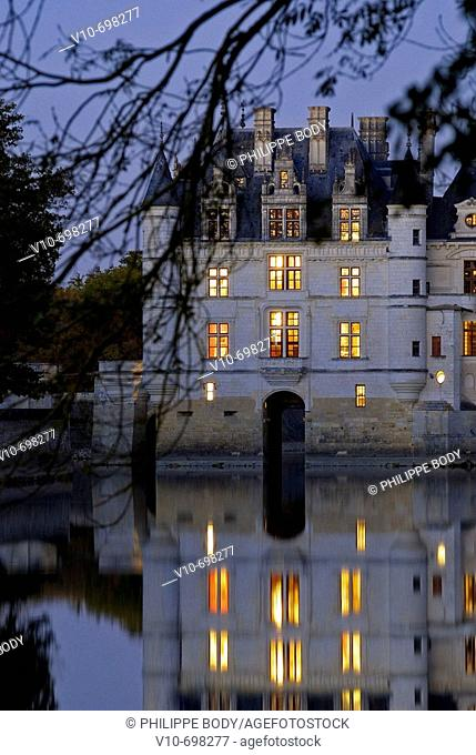 Castle of Chenonceau, built from 1513 to 1521 in Renaissance style, over the Cher river, Indre et Loire, France