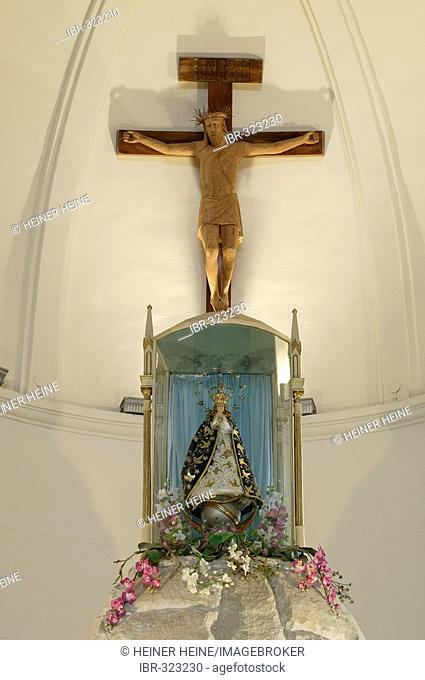 Church of pilgrimage, altar with the Holy Virgin of Caacupe, Caacupe, Paraguay, South America
