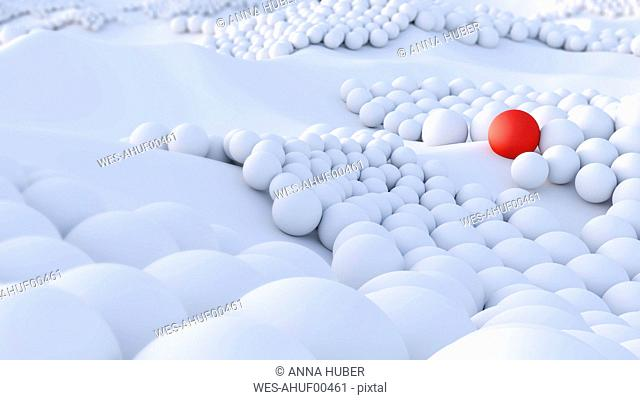 Red ball among big group of white spheres
