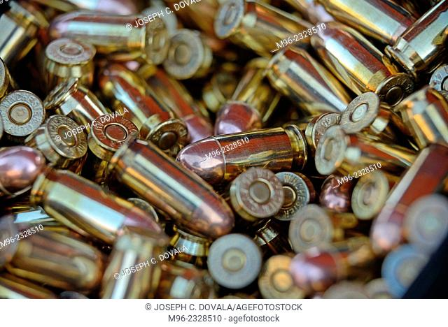 45 caliber bullets in ammo can up close, outdoor shooting range, Santa Clarita, California, USA