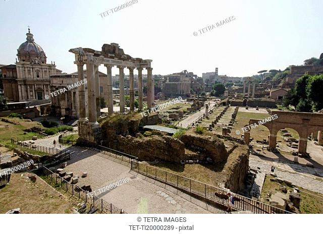 Italy, Rome, Clear sky over Roman Forum