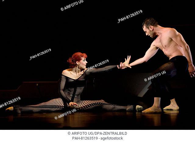 Anastasiya Kuzina as Anita Berber and Mattia Carchedi as Sebastian Droste rehearse the ballet 'Anita Berber - goddess of the night' in Gera, Germany