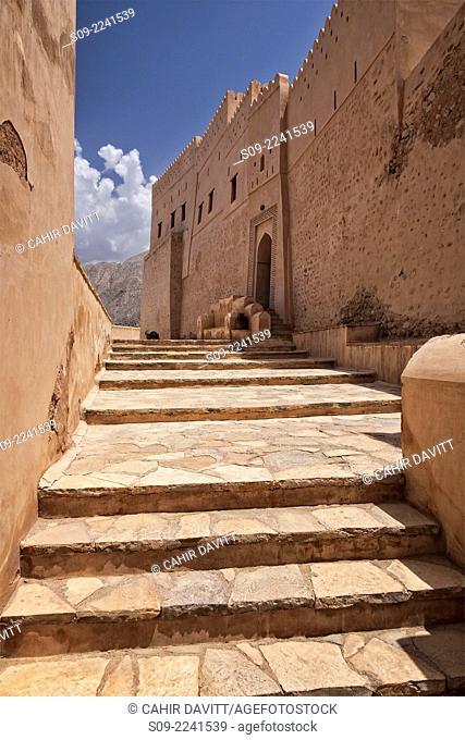 Steps leading up to the entrance of Nakhl Fort, Nakhl, Al Batinah South Governorate, Oman