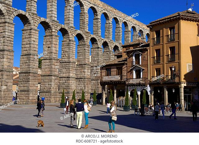 Segovia, Roman Aqueduct, Azoguejo Square, Castilla-Leon, Spain