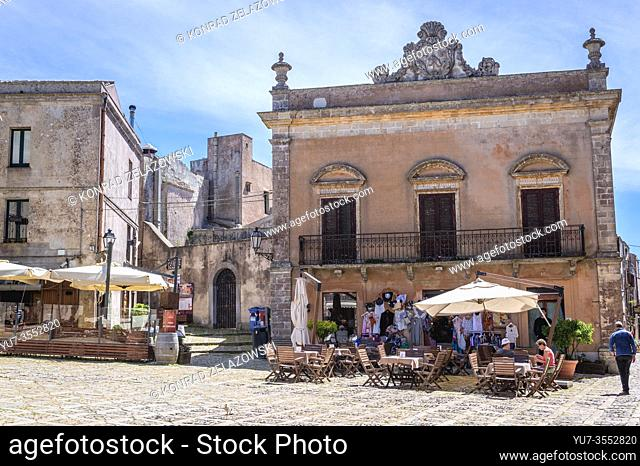 Piazza della Loggia - small square in Erice historic town on a Mount Erice in the province of Trapani in Sicily, southern Italy