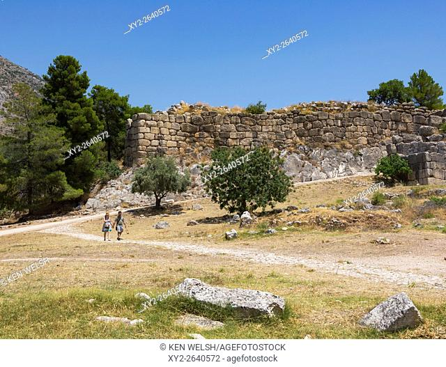 Mycenae, Argolis, Peloponnese, Greece. The Cyclopean walls of the city's citadel. For their time, the walls were so massive as to be unassailable