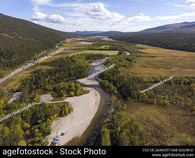 Aerial view of a river bed winding through the Norwegian landscape