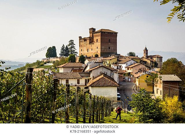View over Grinzane Cavour castle, Langhe, Cuneo district, Piedmont, Italy