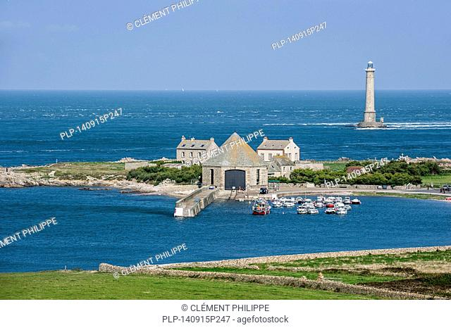 Lighthouse and lifeboat station in the Goury port near Auderville at the Cap de La Hague, Cotentin peninsula, Lower Normandy, France