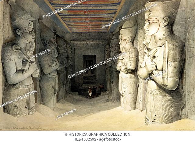 'Interior of the Temple of Abu Simbel', Nubia, Egypt, c1845. Colossal statues inside the Temple of Abu Simbel built during the reign of Rameses II (ruled...