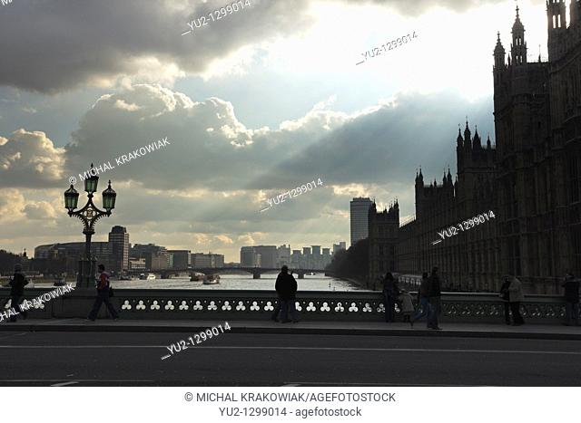 Bridge and Palace of Westminster in London