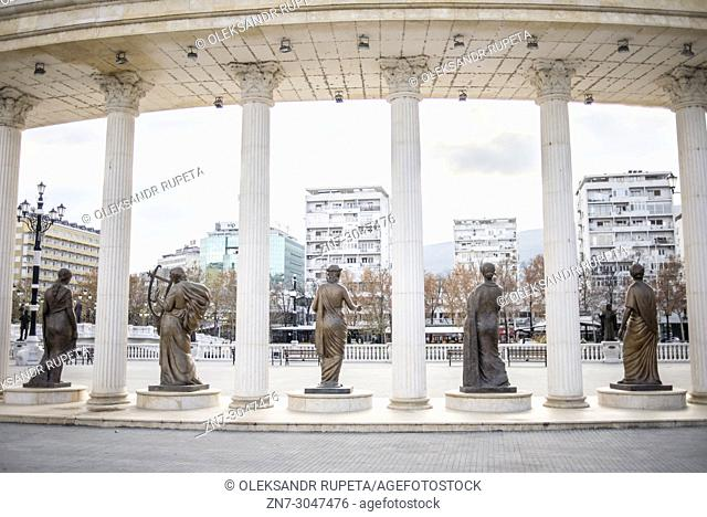 Colonnade In front of Macedonian opera and ballet theatre, Skopje, Macedonia