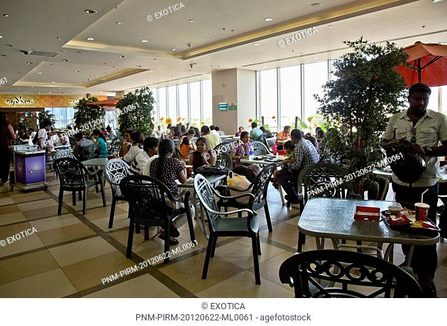 People at food court in a shopping mall, Express Avenue, Chennai, Tamil Nadu, India