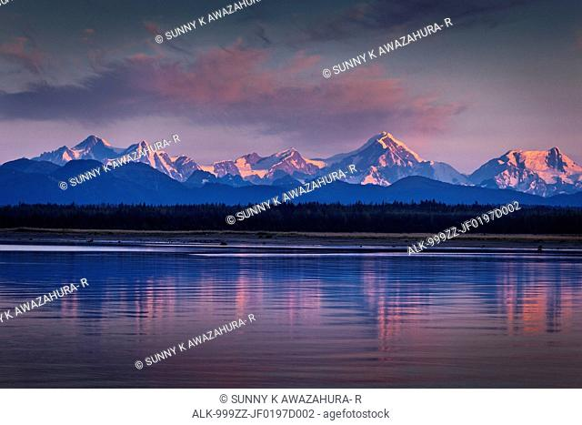 Fairweather mountains reflecting on the waters of Icy Strait at dawn, Glacier Bay National Park & Preserve, Southeast Alaska, Summer