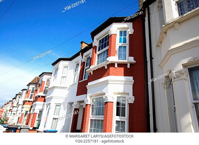 Terraced Houses in London on a sunny day, Stonebridge park, Great Britain