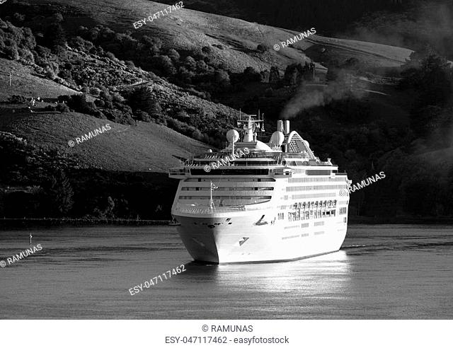 The cruise liner arriving to Port Chalmers in early morning (Dunedin)