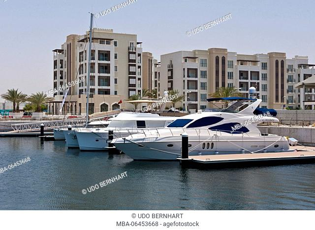 Arabia, Arabian peninsula, Sultanate of Oman, Muscat, tourism project 'The Wave', yacht harbour